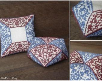 2 PDF cross stitch patterns: Biscornu + Pincusion Antique colors