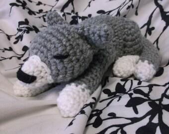 crochet cat amigurumi, cat, sleeping gray and white cat amigurumi, crochet cat, crochet sleeping cat, ready to ship