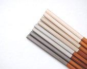 VINTAGE LACE Collection - Neutrals - Grey White Ivory Beige Nude - Set of 4 Paint Dipped Rubber Finished Matte Bamboo Chopsticks -