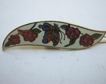 Metal Hair Clip with design of 4 flowers and a butterfly