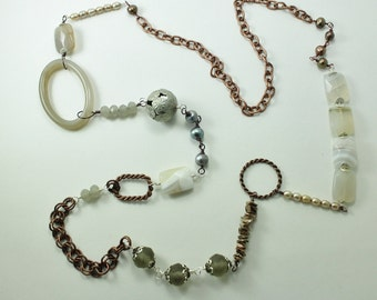 Long Pearl & Multi-Stone Necklace