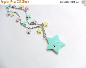 ON SALE Kawaii Shooting Star Necklace, Stainless Steel Chain, Lolita, Fairy Kei, Cute :)