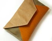Tan leather envelope clutch bag