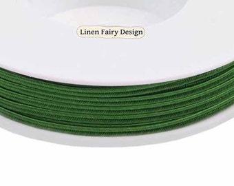 Soutache Braid - Rayon Flat 3mm Green Soutache Cord for Jewelry 5 meters / 5,5 yds SC7801