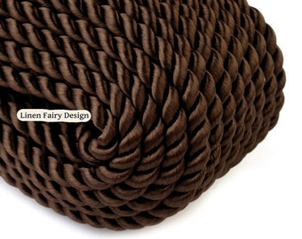 5 meters Twisted Cord 5 mm Dark Brown Rayon / Cotton Cord for Jewelry Decorations SS7903