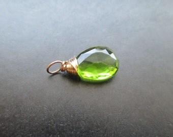 PERIDOT Quartz Wire Wrapped Gemstone Drop Charm Pendant Interchangeable Jewelry