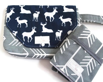 Navy & Grey Buck Diaper Clutch with Travel Changing Pad - New Mom Gift - Baby Accessories