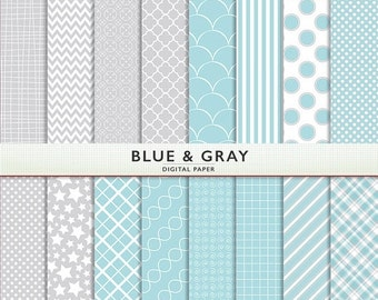 SALE Digital Paper - Blue and Gray - Baby Boy -  Scrapbooking Instant Download Cardstock G7217