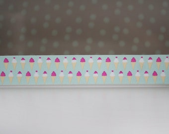 Strawberry Ice Cream Cone with Mint Background Washi Tape