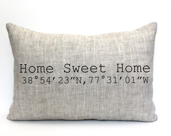 "housewarming gift, longitude and latitude pillow, graduation gift, wedding gift, coordinates pillow, christmas gift - ""The Home Sweet Home"""