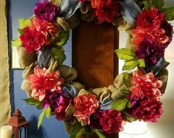 Summer wreath burlap wreath