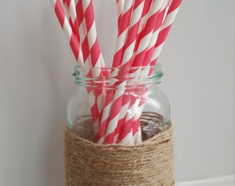 Red and White Stripe Straws