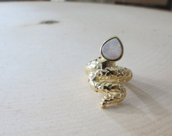 Snake ring, Snake gold ring, snake druzy ring, druzy snake head ring, druzy snake ring, druzy gold ring, white druzy ring, statement ring
