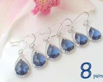 Navy Blue Earrings Set of 8 12% Off- Silver Drop Dangle Earrings-  Nautical Wedding Bridal Jewelry- Bridesmaid Maid of Honor Gift