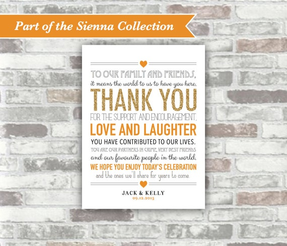 PRINTABLE Digital File - SIENNA Collection - Wedding Thank You Sign 6x8 - Autumn Fall Wedding - Gold Burnt Orange Place Setting Table Decor