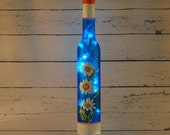Blue and white daisies wine bottle lamp, hand painted