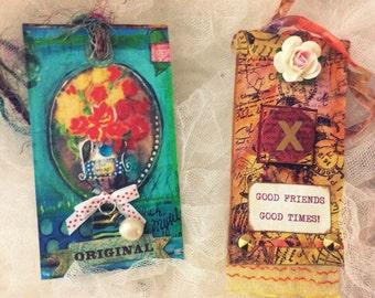 SHABBY TAGS, , Handmade Tags, 5 Mixed Media Tags, FREE SHIPPINg USa Mainland, Wine Tags, Gift Tags, Art Tags, Journal Tags, No. 0216-10