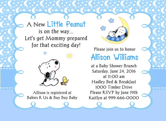 baby snoopy little peanut moon and stars baby shower, Baby shower invitations
