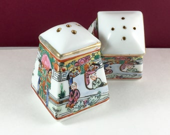 SALE  Vintage Geisha Garden Porcelain Salt Pepper Shaker Set Japan