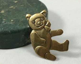 Adorable Golden Teddy Bear Brooch Pin