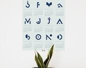 Calendar poster, (40 x 50 cm), geometric, light green - blue, 2017, one page calendar, typographic print, graphic design, home decoration