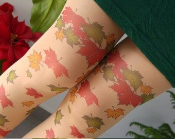 Leaves Tattoo Tights , Printed Tights, Leaf Tattoo Womens Pantyhose, S-XXL Sizes Available
