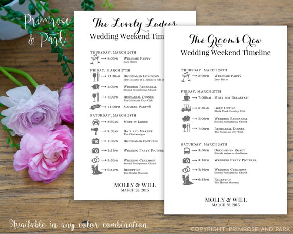 Wedding Itinerary for Bridal Party Printable // Bridesmaids + Groomsmen Cards // Bundle Package