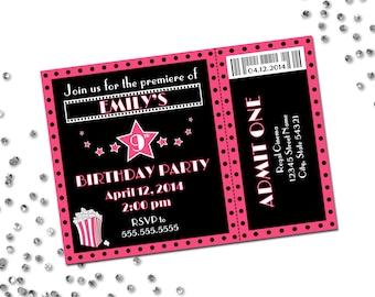 Movie Theme Birthday Party Invitation - Pink and Black - DIY - Printable