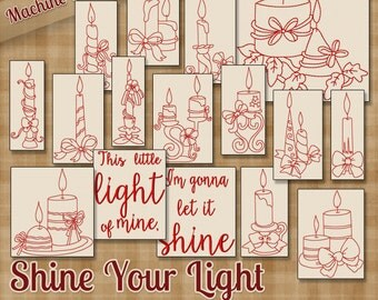 Shine Your Light Redwork Embroidery Machine Designs  16 Candles and Ribbons - This Little Light of Mine - 2 Sizes Each INSTANT DOWNLOAD