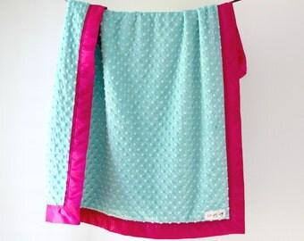 Baby Blanket, Topaz Blue Minky Dot with Berry Satin Trim