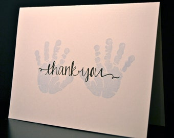 Baby Boy Thank You Cards, Set of 10, Baby Shower Thank You Cards, Blue Baby Handprint, Baby Gift Thank You Card Set