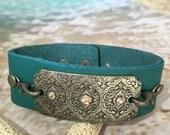 Leather Cuff Bracelet - Womens Leather Cuff Bracelet - Boho Bracelet - Cuff Bracelet - Turquoise Cuff Bracelet