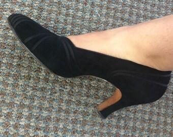 1920's Black Suede/Black Ribbon Saks-Fifth Avenue Shoes