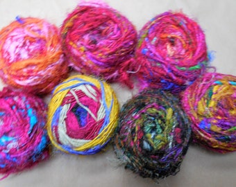 85 Yards,  Art Yarn,  Recycled Silk,  Fair Trade,  from India