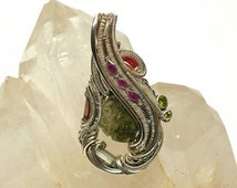 """Silver wire wrapped pendant: """"Rhododendron"""""""