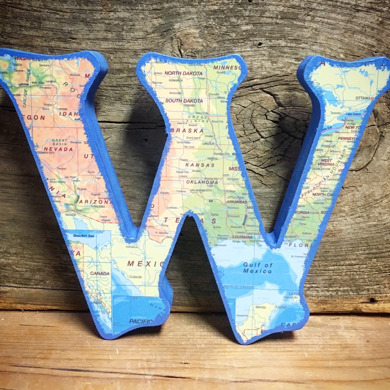 Free Standing Wood Letters-Map Designs-Map Letters-Geography
