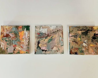 Set of three 6x6 inches and 1.5 inch deep gallery wrapped abstract thick colorful oil painting ready to display in your art gallery or home