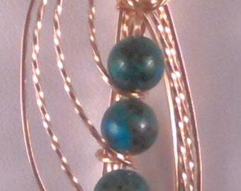 14kt Gold Filled Pendant with Chrysocolla Beads