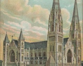 Lovely and Colorful Antique 1908 Postcard of St. Paul's Cathedral Located in Downtown Pittsburgh Pennsylvania