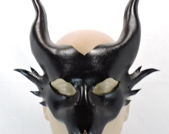 Black Dragon Mask - Unisex - Leather Mask, Halloween, Cosplay, Costume, Demon, Dragon with Horns, Draco