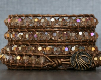 wrap bracelet- champagne faceted crystals on bronze leather- boho beaded leather jewelry