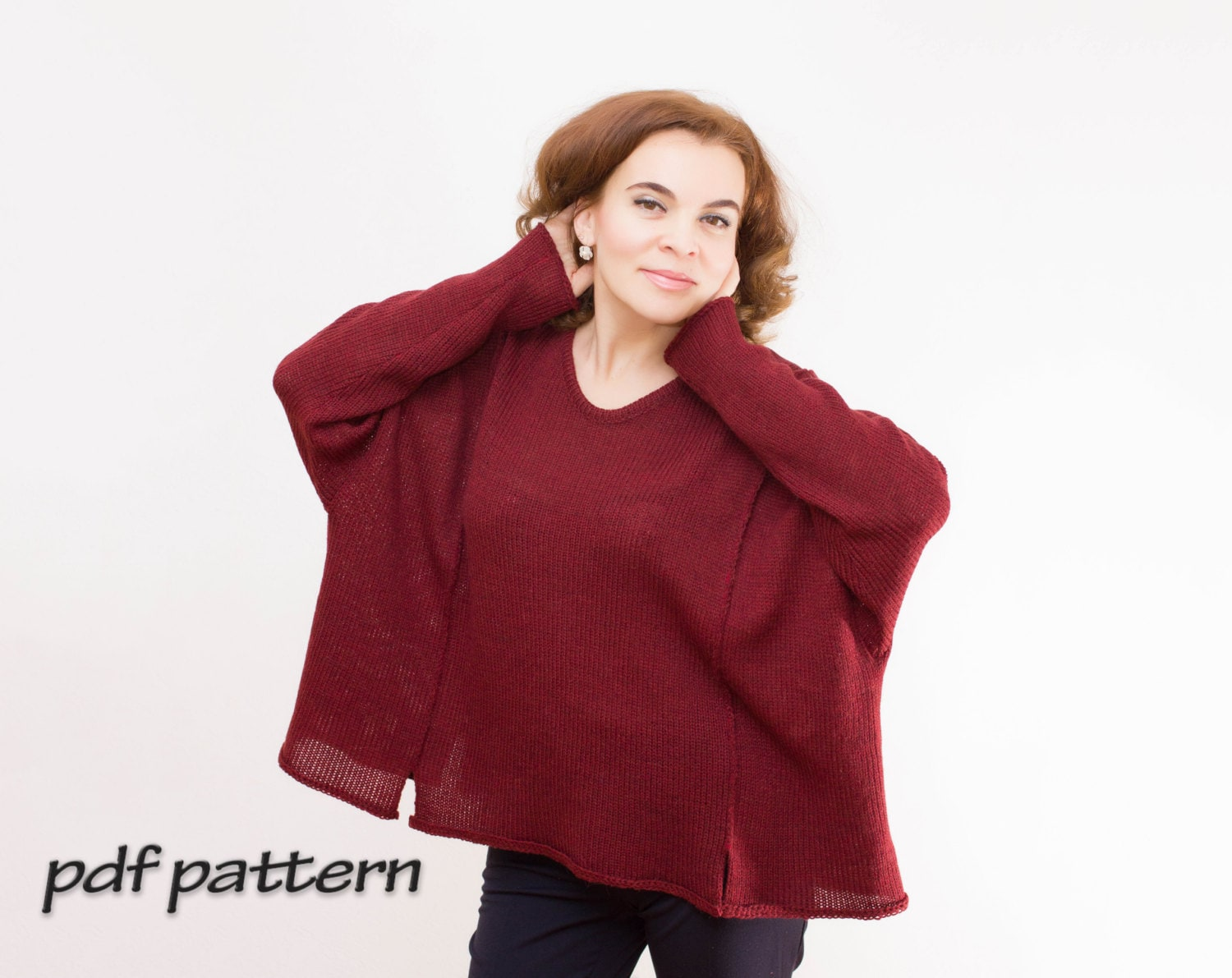 KNITTING PATTERN Oversize Sweater with detachable cowl