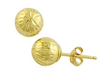 10Kt Yellow Gold Diamond Cut Ball Stud Earrings