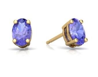 14Kt Yellow Gold Tanzanite Oval Stud Earrings