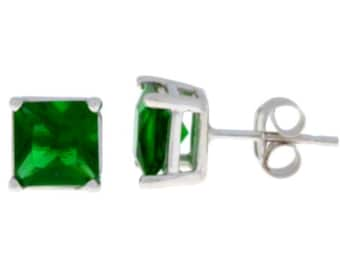14Kt White Gold Emerald Princess Cut Stud Earrings