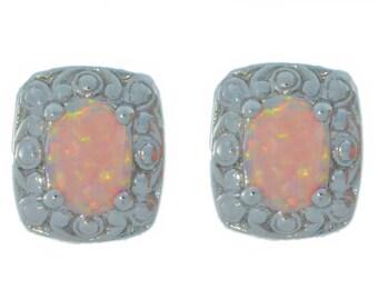 Pink Opal Oval Stud Earrings .925 Sterling Silver
