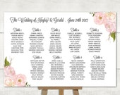 Wedding Seating Chart, Table Seating Plan, Wedding Sign, Find Your Seat, Guest List, Sweet Blush Floral, Cheap DIY Printable PDF (SC19)