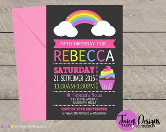 RAINBOW INVITATION, CUPCAKE Invitation, Rainbow Birthday, Cupcake Birthday, Rainbow Invitation, Rainbow Cupcake Invitation, First Birthday