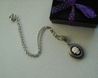 White Day of the Dead Skull Antique Silver Locket Pendant Necklace