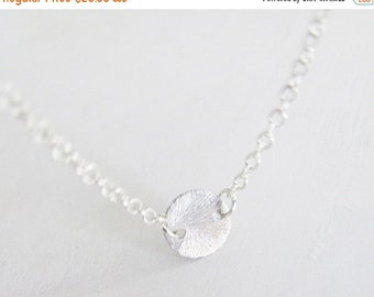 WINTER SALE Sterling Silver Coin Necklace - Sterling Silver Chain - Minimal & Simple Necklace - Silver Coin Necklace - Everyday Necklace